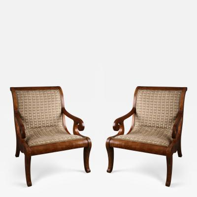 A Pair of Spanish Colonial Neoclassical Armchairs Vto De Nva Espana ca 1830