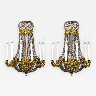 A Pair of Superb Antique French Louis XVI Gilt Bronze and Crystal Sconces