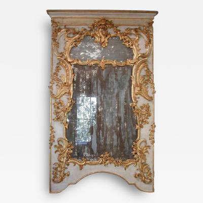 A Pair of Superb Mirrors with Painted and Gilded Wood and Period Mirror Glass