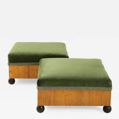 A Pair of Swedish Elm Ebonized Footstools Circa 1840s