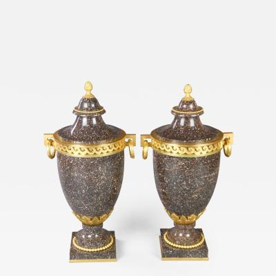 A Pair of Swedish Gilt Bronze Mounted Blybergs Porphyry Urns
