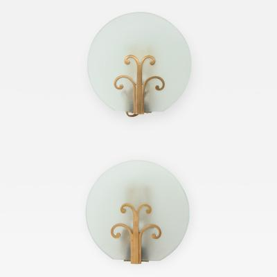 A Pair of Swedish Grace Frosted Glass and Brass Sconces Circa 1930s