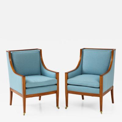 A Pair of Swedish Mahogany Upholstered Armchairs Circa 1930