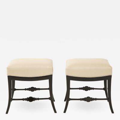 A Pair of Swedish Neoclassical Ebonized and Upholstered Stools Circa 1830s
