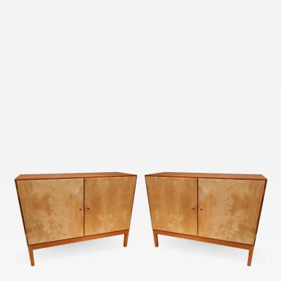 A Pair of Teak and Parchment Sideboards Denmark 1970