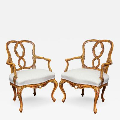 A Pair of Venetian Rococo Style Open Armchairs