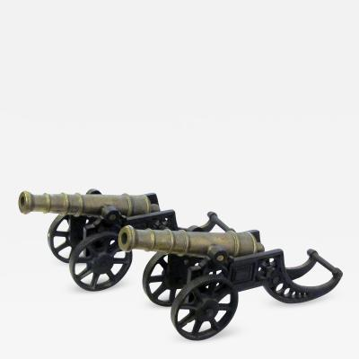 A Pair of Victorian Brass Ornamental Signal Cannons on Cast Iron Carriages