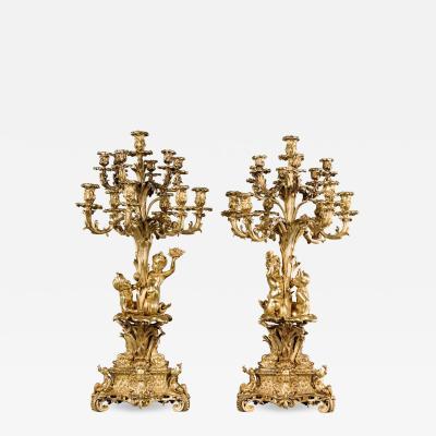 A Pair of Victorian Gilt Bronze Candelabra