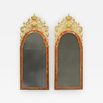 A Pair of William Mary Red Japanned Pier Mirrors