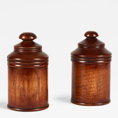 A Pair of Wood Treen Pots with Lids