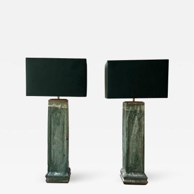 A Pair of antique water pipe lamps