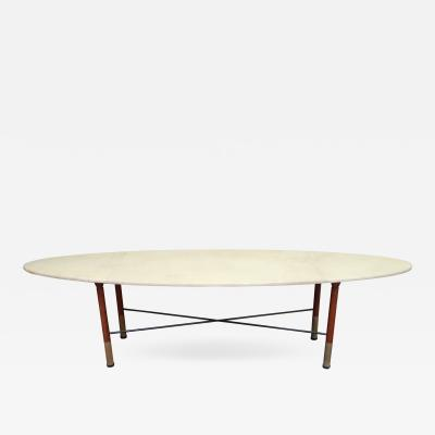 A Parchment Wood and Iron Coffee table Italy 1970