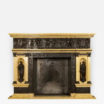 A Patinated Bronze and Sienna Marble Fireplace