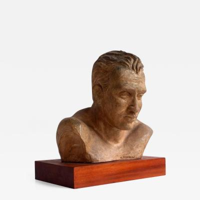 A Perelli Portrait of an Athlete Clay Sculpture by A Perelli