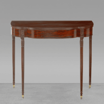 A Philadelphia Carved Mahogany Reeded Leg Pier Table with Bulb Carved Legs