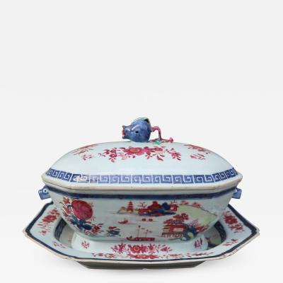 A Porcelain Tureen with Tray Gustavian Period Sweden 19th Century