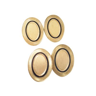 A Pr Of Vintage English Hallmarked 9K Gold Enamel Cufflinks