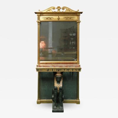 A REGENCY EGYPTIAN REVIVAL GILTWOOD PIER MIRROR AND TABLE