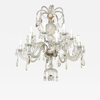 A Rare 16 Light Two Tiered English George II Style Cut Crystal Chandelier