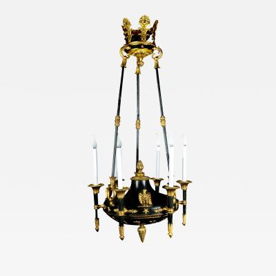 A Rare Antique French Empire Gilt and Patina Bronze Eagle Chandelier
