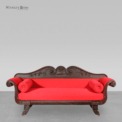A Rare Carved Mahogany Classical Sofa with Chinese Chippendale feet c 1830