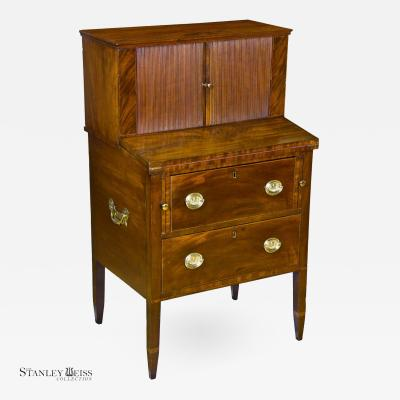 A Rare Diminutive 26 width Mahogany Hepplewhite Desk with Tambour Doors