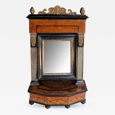 A Rare Italian Burl Walnut Inlaid 3 Drawer Dressing Mirror