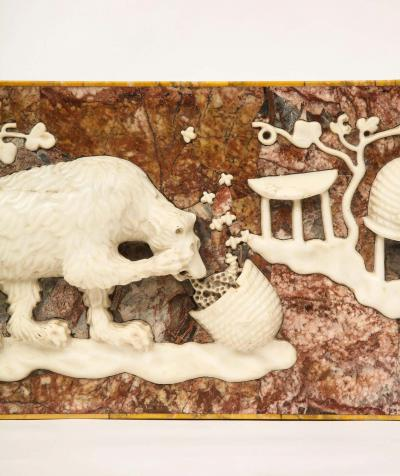 A Rare Italian Grand Tour Marble Frieze Panel Of A Bear Eating Honey