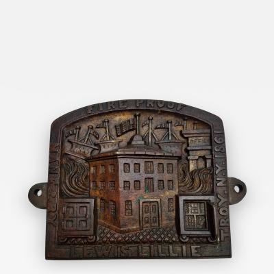 A Rare Lewis Lillie Fireproof Safe Plaque Troy NY patented 1861