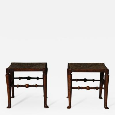 A Rare Pair of Ash Rush Seated Stools Early 19th Century