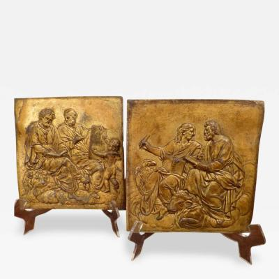 A Rare Pair of Italian Gilt Lead Plaques