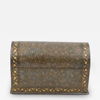 A Rare Polychrome Lacquered Kashmiri Domed Stationery Box India Circa 1850
