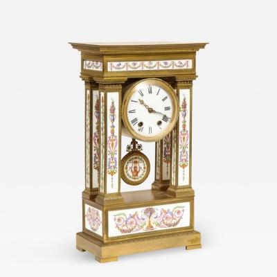 A Rare and Exquisite French Ormolu and Porcelain Clock attributed to Deniere