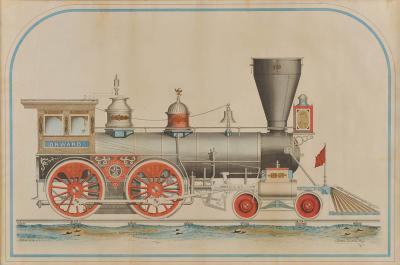A Rare and Important Large Scale Drawing of the Onward Locomotive Engine