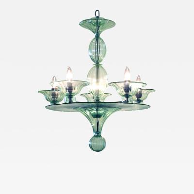 A Rare and Shapely Murano Art Deco Pale Green Glass Chandelier