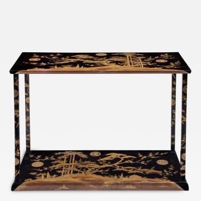 A Rare and Unusual Japanese Black and Gold Lacquered Console Table