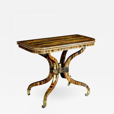 A Regency Calamander Wood Console Games Table