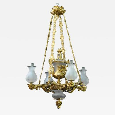 A Regency Four Light Suspended Argand