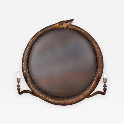 A Regency Ouroboros Convex Girandole Mirror English ca 1810