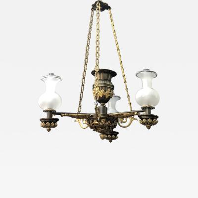 A Regency Three Light Suspended Argand