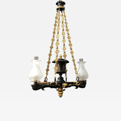 A Regency Two Light Suspended Argand