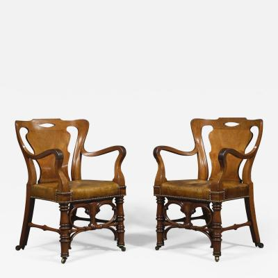 A Remarkable Pair of Mahogany Library Armchairs of Large Scale