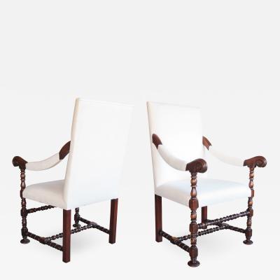 A Robust Pair of Flemish Baroque Style Walnut Fauteuils a la reine