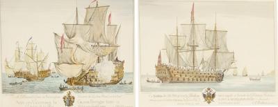 A Roublard Pair of Engravings of H M S Grand Bretagne H M S Blenheim by A Roublard