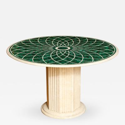 A Round Veneered Malachite and Marble Center Table