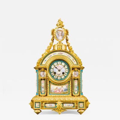 A S vres Style Porcelain Mantel Clock