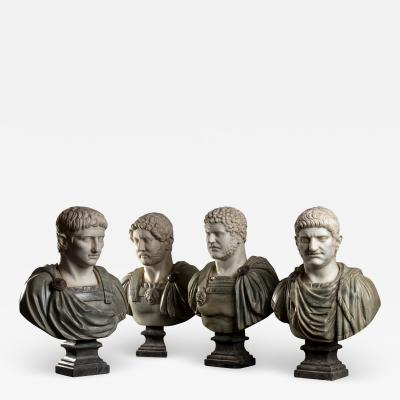 A Set Of Four Italians Specimen Marble Busts Of Roman Emperors Grand tour Style