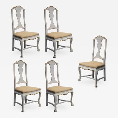 A Set of 5 Portuguese Rococo Ivory Painted Dining Chairs Individually Priced