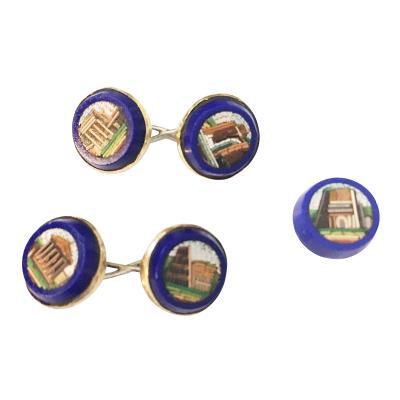 A Set of Antique Grand Tour Micro Mosaic Cufflinks 19th c