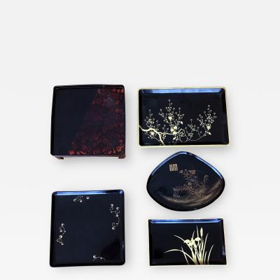 A Set of Five Vintage Japanese Lacquer Trays